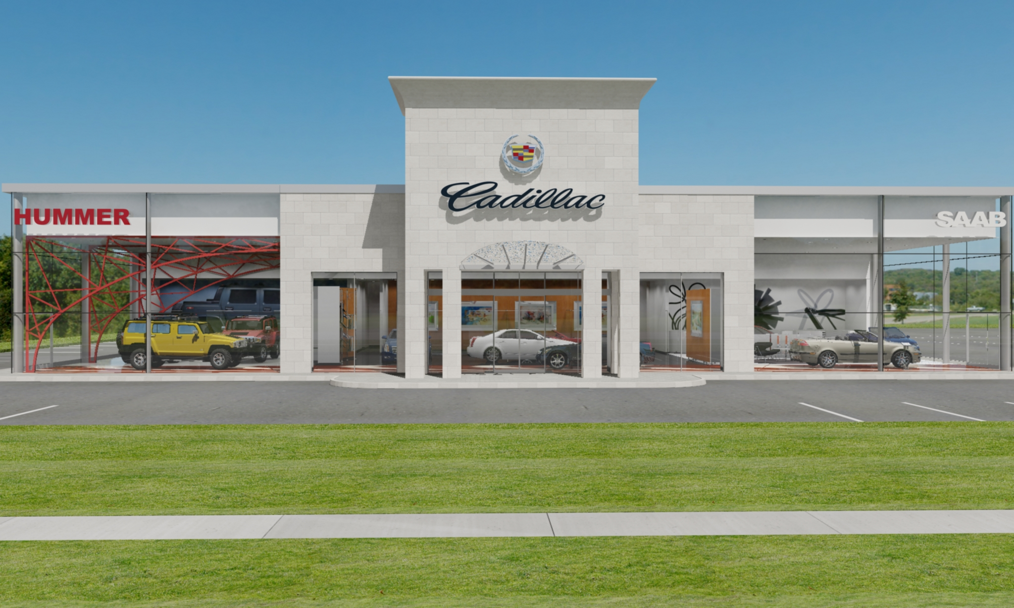 Cadillac hummer saab international showroom brian o for Car showroom exterior design